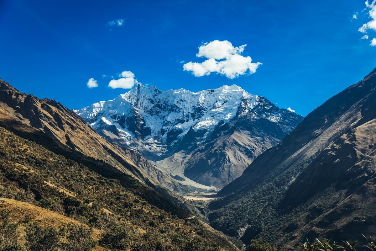 Vista del nevado Salkantay a la distancia