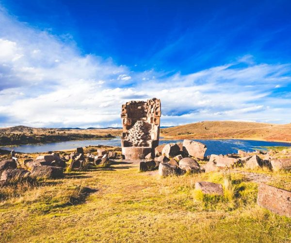 Sillustani is a pre-Incan burial ground on the shores of Lake Umayo near Puno in Peru